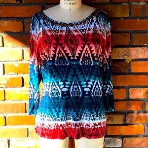 Ruby Rd. XLP Blouse Red Blue Native Patterned